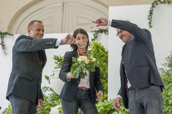 Baptême de la rose Christophe Dechavanne, création Meilland, orangerie du parc de Bagatelle (Paris 16e), photo Frédéric Marre / Rustica